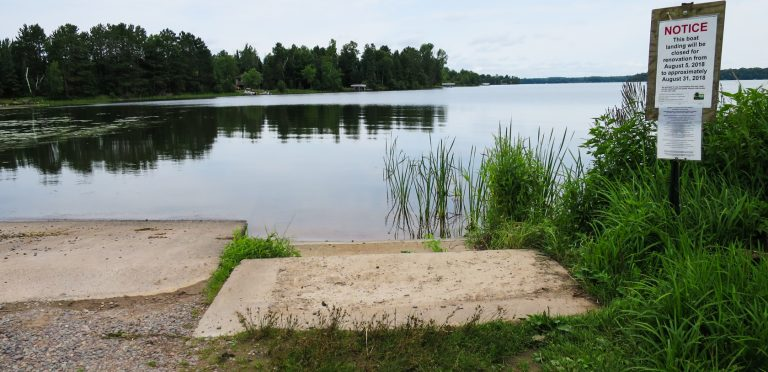 09/06/18 Update: DNR public boat landing at Lost Land Lake is still CLOSED for renovation.  Progress resumed today with 2nd pouring of concrete boat ramp.   Boaters re-routed to The Retreat at Lost Land Lake until late Sept.
